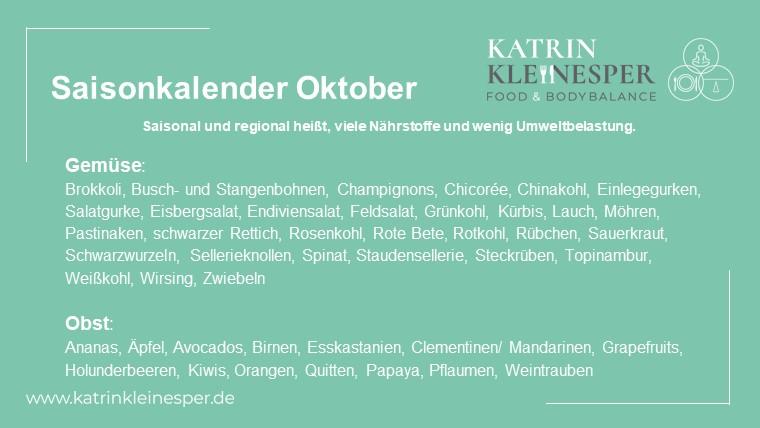 Saisonkalender Oktober
